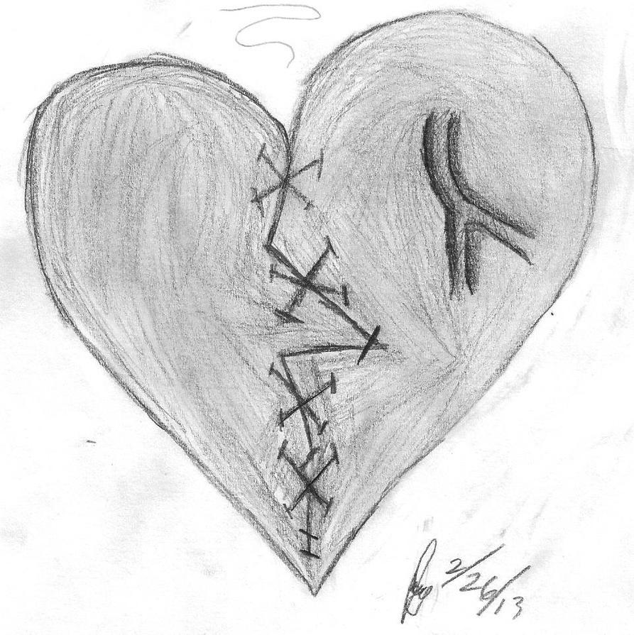 Broken,fixed heart by Nerdy-Butterfly on DeviantArt Pencil Drawings Of Broken Hearts