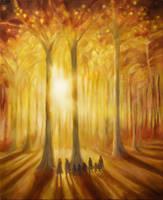 The Fellowship in Lothlorien by kuliszu