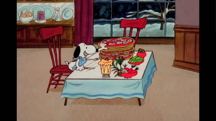 Snoopy Pigs Out On Pizza