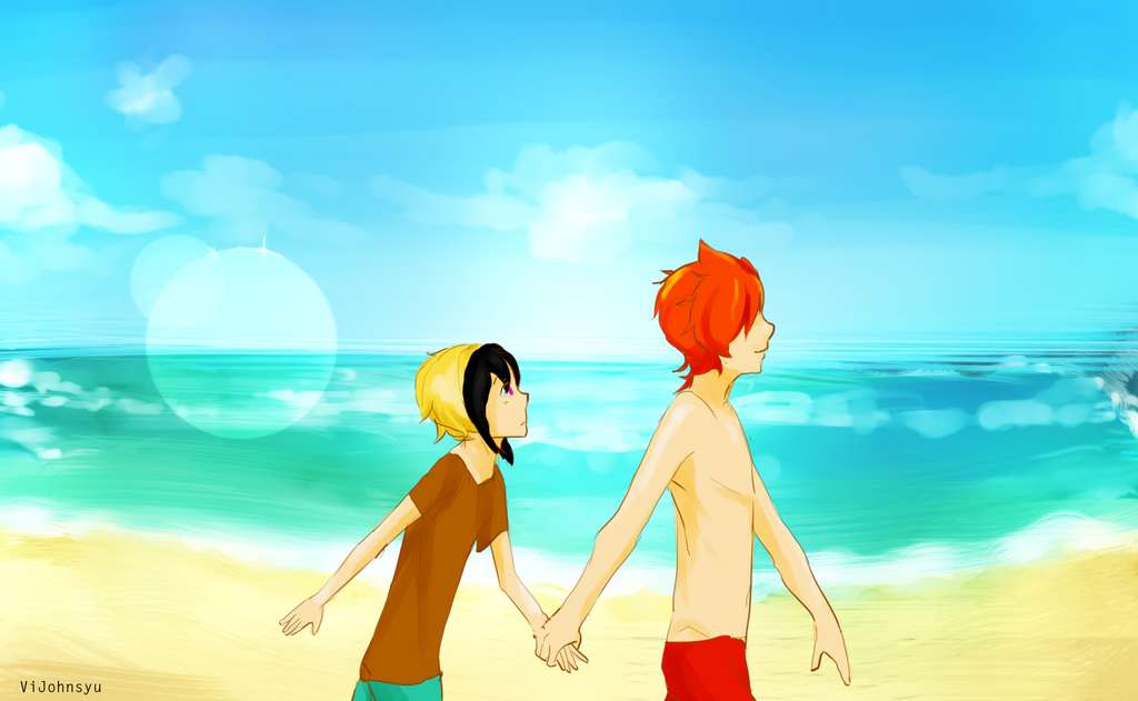 John and Sophe at the beach by ViJohnSyu