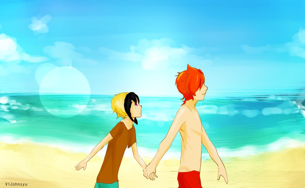 John and Sophe at the beach by ViJohnSyu