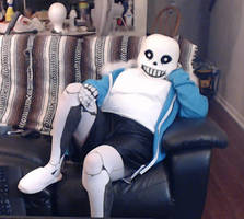 Undertale Sans Cosplay (watching some TV) by TheBeastInBeauty