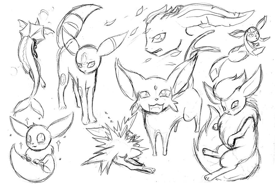 Eeveelutions Coloring Pages Coloring Pages