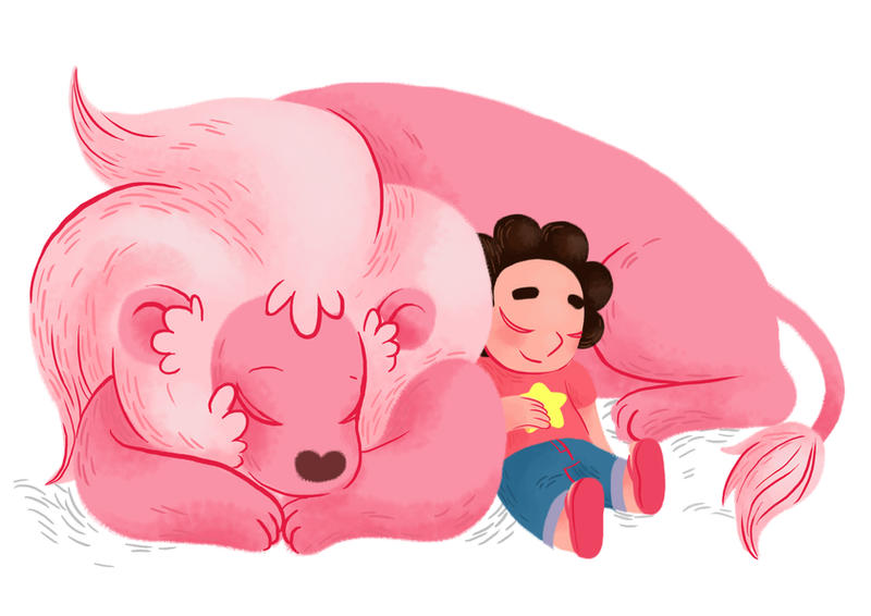 Another image in the long line of 'I can't draw backgrounds I overwork everything lately egh'.On the upside, Steven and Lion are adorable like it on my tumblr here inkcircus...