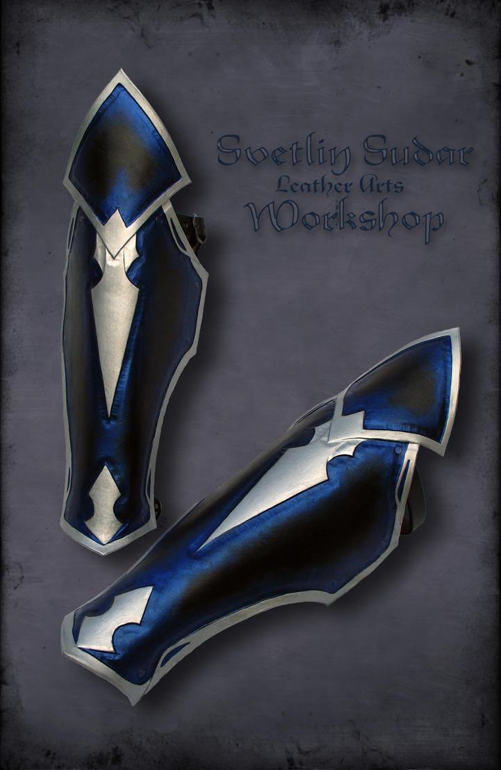 Druchii assassin's male leather armor - Greaves by Svetliy-Sudar