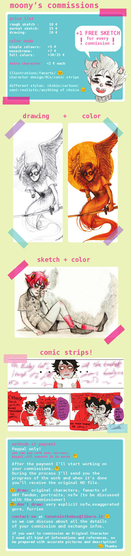 Cheap commissions and a FREE sketch!!! by MoonyL00ny
