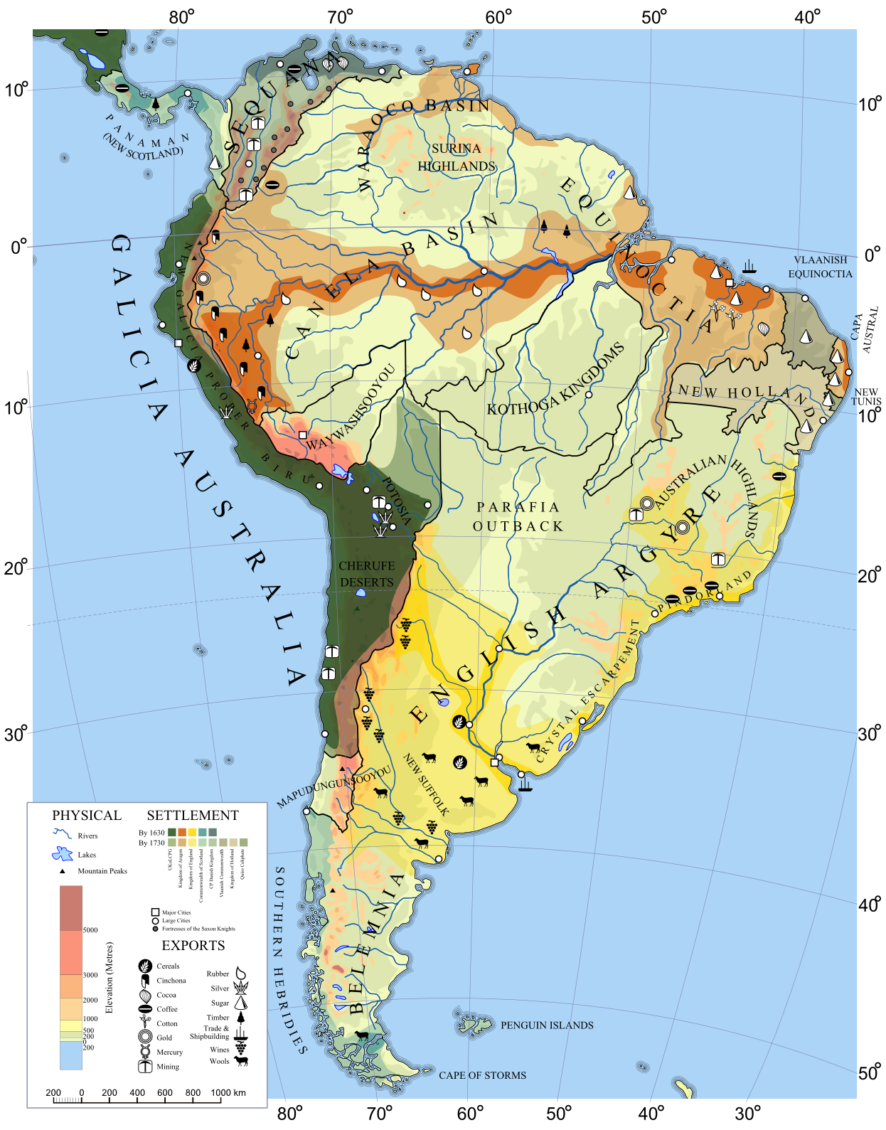 Elevation Map South America Www Topsimages Com