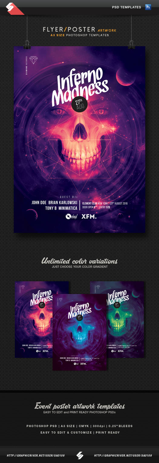 Inferno madness - party flyer, poster template A3 by