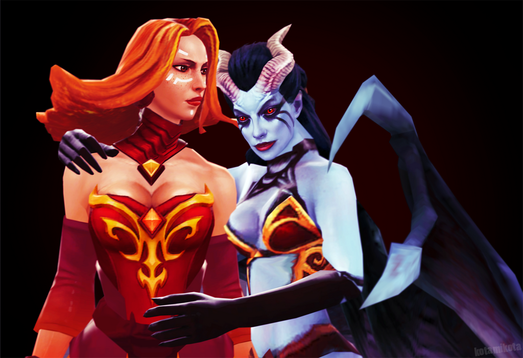 dota 2 lina and queen of pain by kotamikota on deviantart