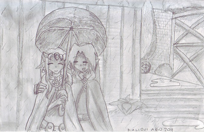 Rainy walk pencil sketch by dialirvi