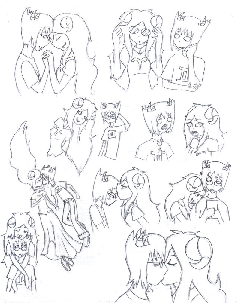 Aradia x Sollux sketchdump by Dialirvi