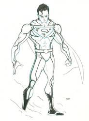 Superman - New suit Bluelines by tryin2get-there