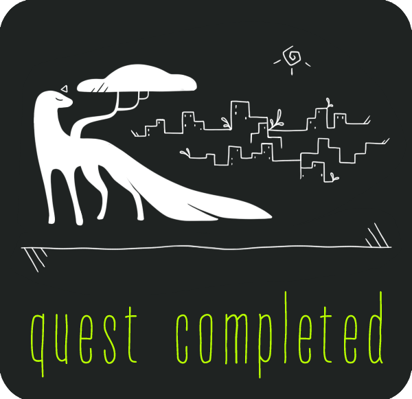 The Developed Biome Event: Natura Humana Quest completion badge. It's got a serene little esk looking back on a city skyline.