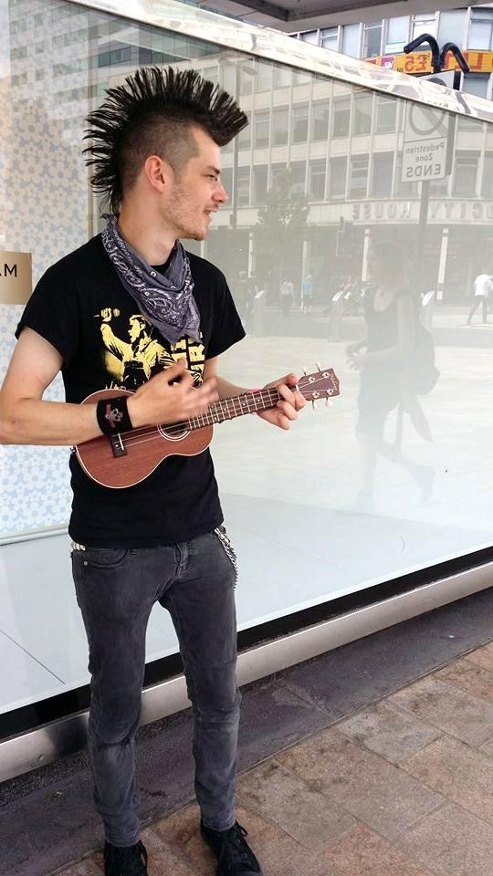 busking with a ukulele by FlawedHumanity