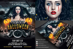 The Black Halloween Psd Flyer Template by dennybusyet