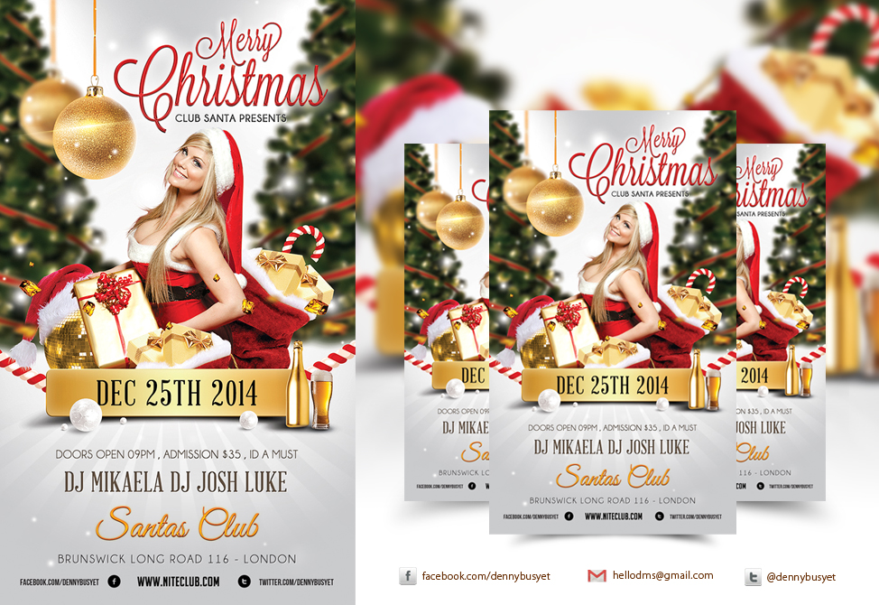 merry christmas nightclub psd flyer template by dennybusyet