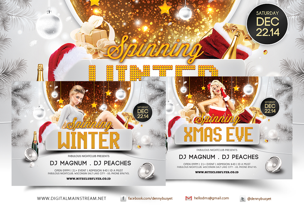 Spinning Winter And Xmas Party Flyer Template By Dennybusyet On