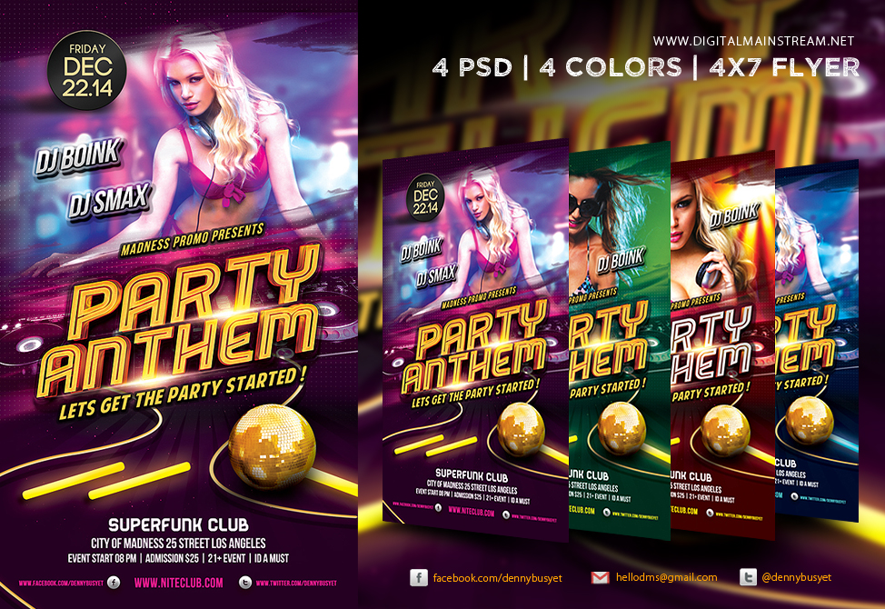 Party Anthem Nightclub Psd Flyer Template By Dennybusyet On Deviantart