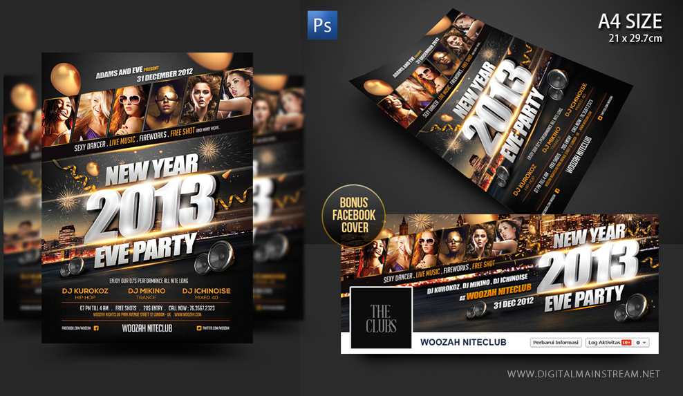 New Years Eve Party Flyer Poster Template By Dennybusyet ...