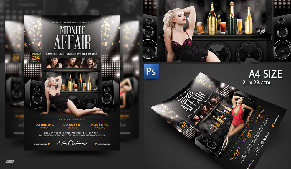 Midnite Affair Nightclub Flyer Poster Template By Dennybusyet On