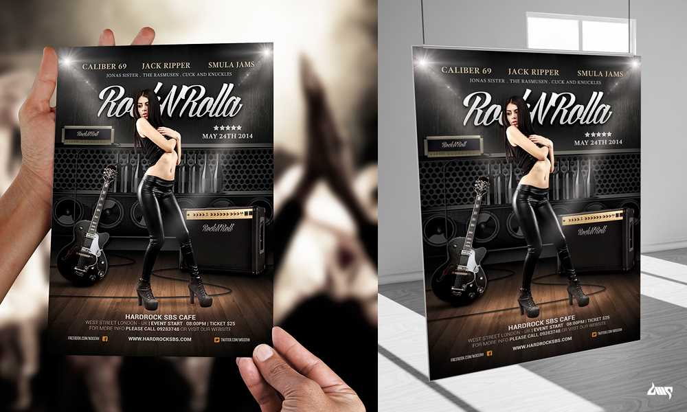 Rock And Roll Music Poster Flyer Template By Dennybusyet On Deviantart