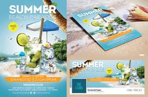 Summer Beach Cocktail Flyer Psd Print Template by dennybusyet