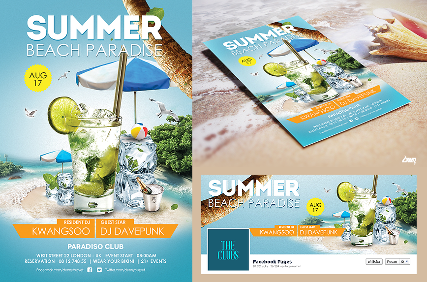 summer beach cocktail flyer psd print template by dennybusyet on