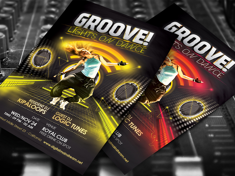 Groove Dance Club Flyer Template Psd Download by dennybusyet