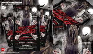 Spooky Halloween Flyer Template Design by dennybusyet
