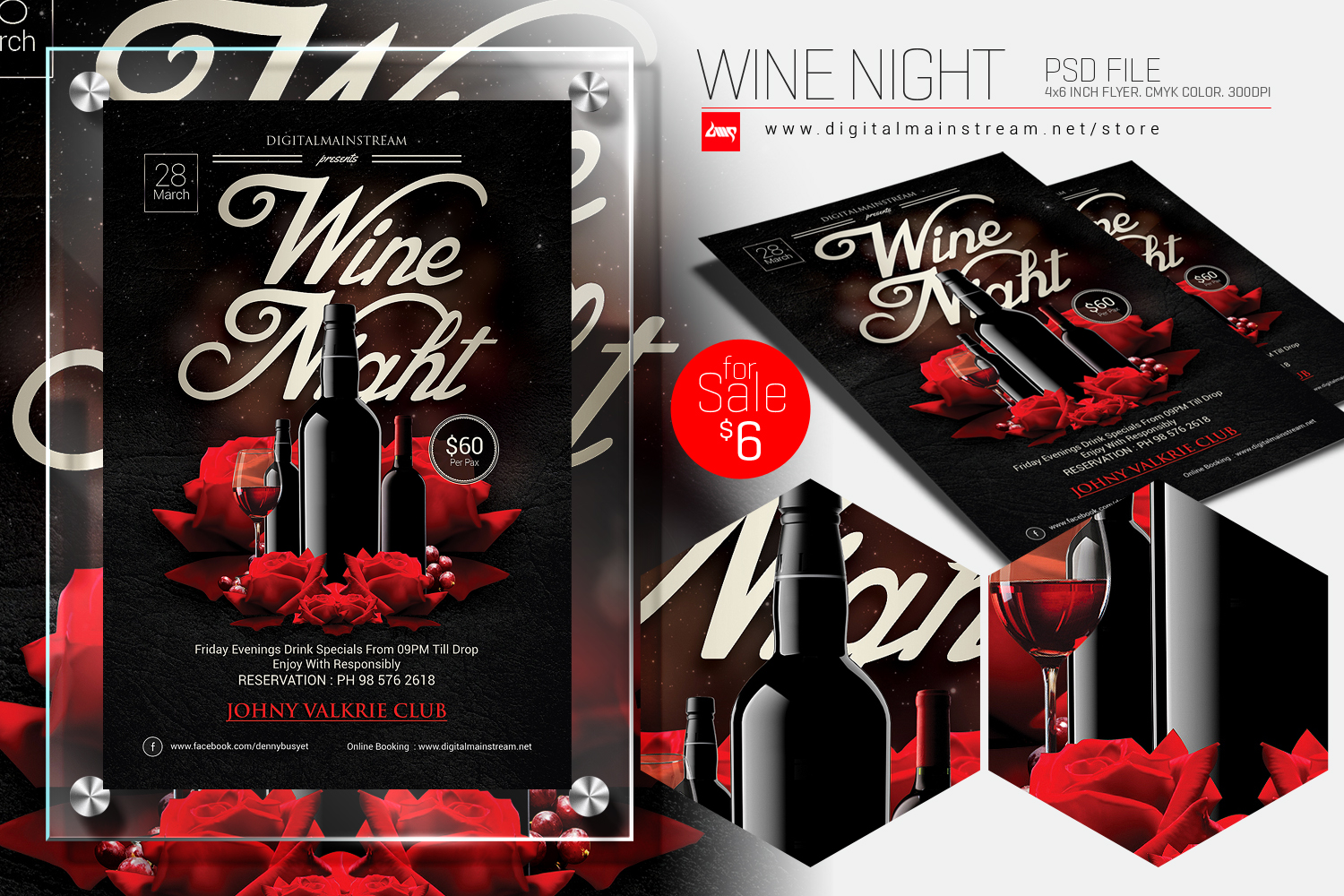 Wine Night Invitation Flyer Template By Dennybusyet On