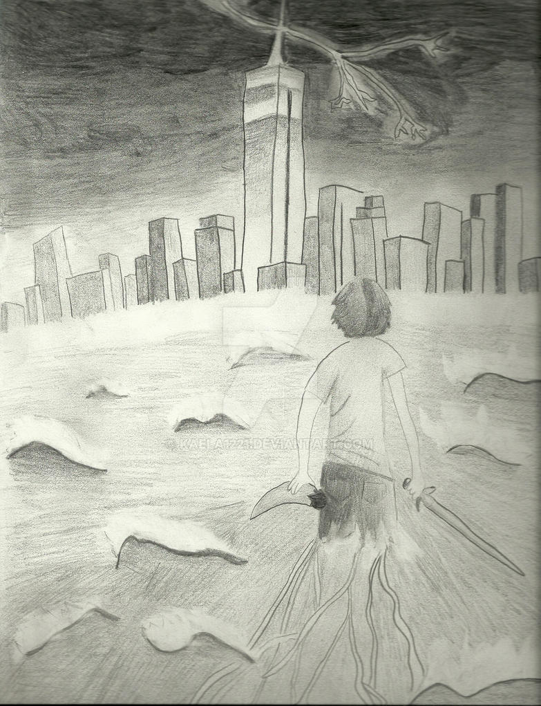 Black N White Book Cover : Percy jackson complete drawing by kaela on deviantart
