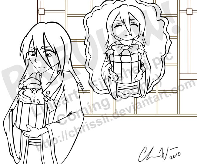 Dropping by with a little lineart of a cute Byakuya-Rukia image. by Chrissii ...