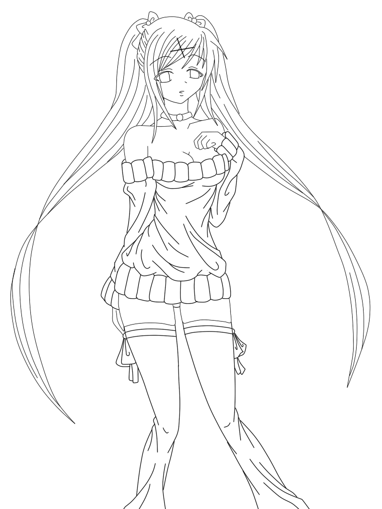 miku coloring pages - miku hatsune lineart by bionicbranster on deviantart