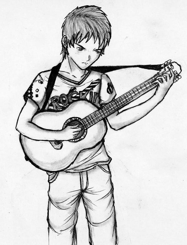 Guitar boy by Zearth95 on DeviantArt Boy With Guitar Drawing