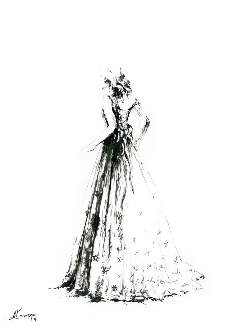 Fashion illustration wedding dress by annakrupa on deviantart Wedding dress illustration