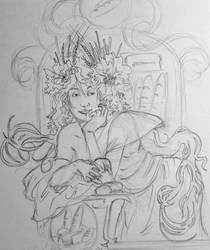 Lady in the bakery pencil sketch