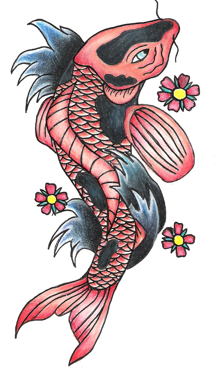 koi fish tattoo sketch by emilyxx09