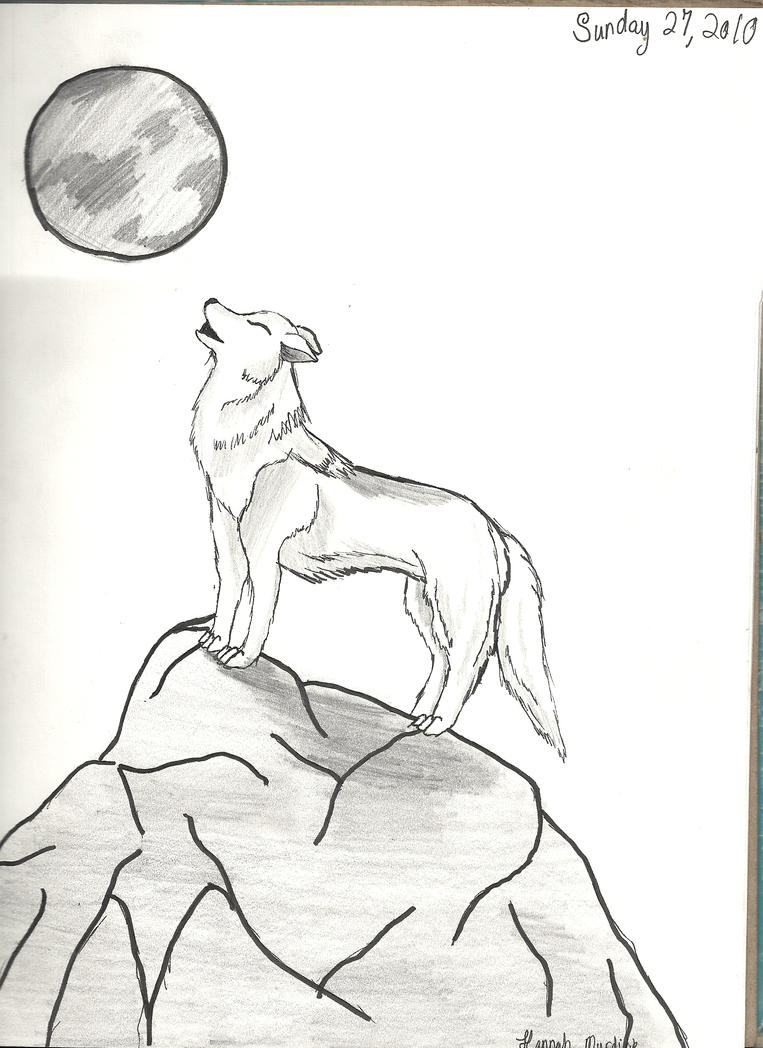 Wolf Howling At Moon By Hnm114 How To Draw