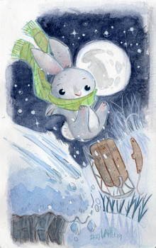 Winter Bunny Sledding