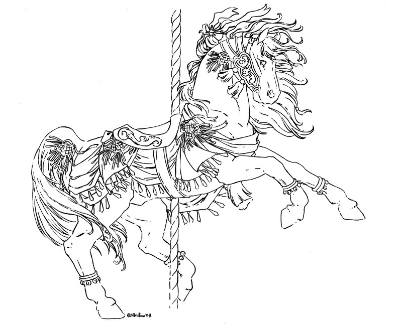 Carousel winter inks by hbruton on deviantart for Carousel horse coloring page