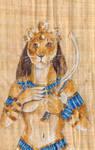 Sekhmet On Papyrus