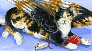 winged cat magnet
