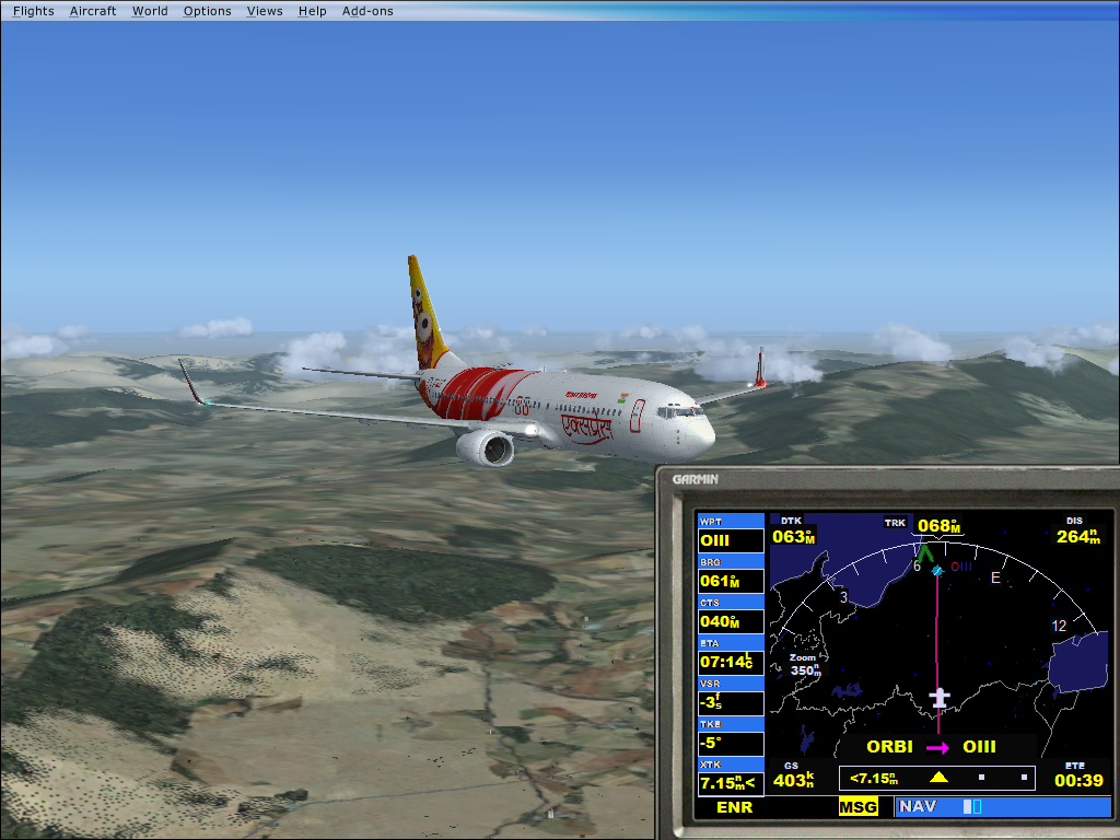 FSX Steam-Air India 737-800 flying over Iran by HTFBlueFan2012 on