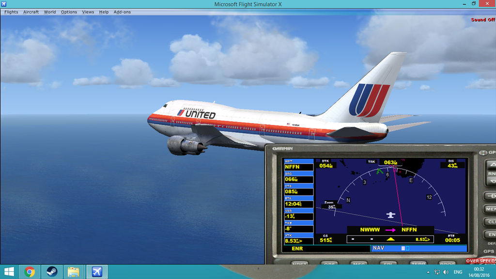 FSX Steam-United Airlines 747SP approaching Fiji by