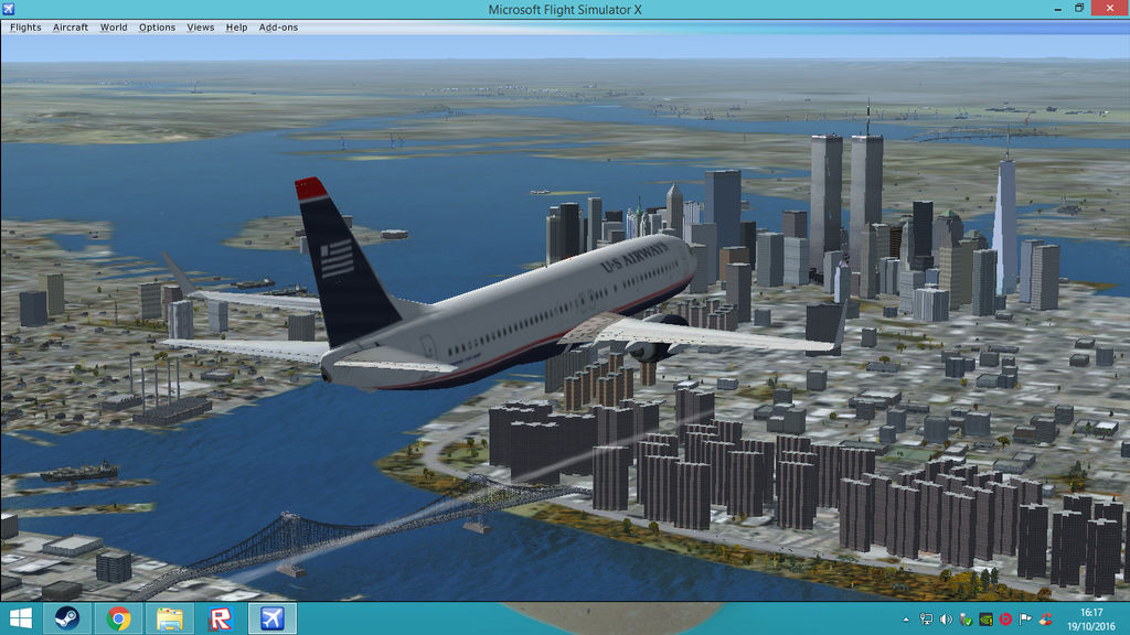 FSX Steam-US Airways 737 flying over New York City by HTFBlueFan2012