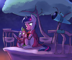 Spike and Twilight: Night Admiration With Hot Coco by imsokyo