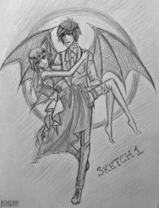 Vampire romance sketch requested by iradiotic