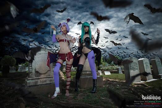 Morrigan and Lilith Aensland (Vampire Savior)
