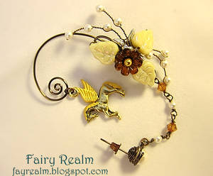 Pegasus In The Cream Brown Forest Ear Cuff