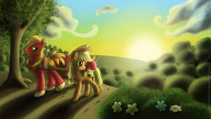 Sunset over Sweet Apple Acres